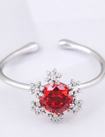 Fashion Red Snowflake Decorated Opening Ring