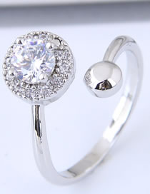 Fashion Silver Color Round Shape Diamond Decorated Opening Ring