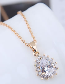 Fashion Gold Color Water Drop Shape Pendant Decorated Necklace