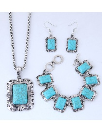 Fashion Blue Square Shape Decorated Jewelry Sets