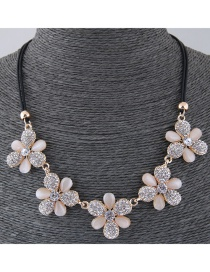 Fashion Beige Flower Shape Design Necklace
