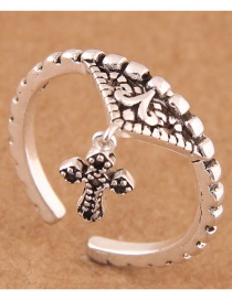 Fashion Silver Color Cross Shape Decorated Opening Ring