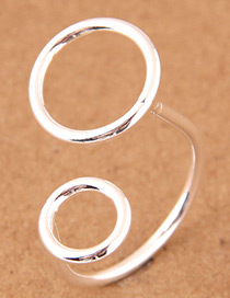 Fashion Silver Color Round Shape Design Opening Ring