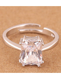 Fashion Silver Color Square Shape Design Opening Ring