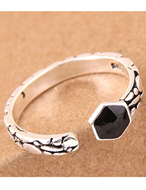 Vintage Silver Color Geometric Shape Design Opening Ring