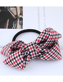 Fashion Red Grid Pattern Decorated Bowknot Hair Band