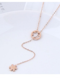 Fashion Rose Gold Plum Blossom Shape Decorated Necklace