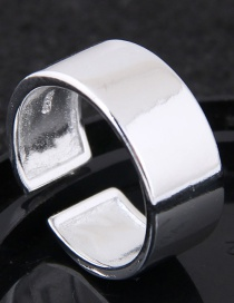 Fashion Silver Color Pure Color Decorated Opening Ring