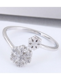 Fashion Silver Color Snowflake Shape Decorated Opening Ring