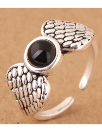 Vintage Silver Color Wing Shape Decorated Opening Ring
