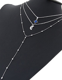 Fashion Silver Color Moon Shape Decorated Multi-layer Necklace