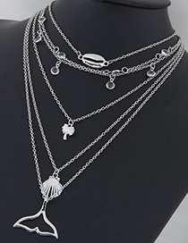 Fashion Silver Color Mermaid Shape Decorated Multi-layer Necklace
