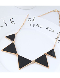 fashion Gold Color+black Triangle Shape Decorated Necklace