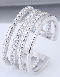 Elegant Silver Color Pure Color Design Multi-layer Opening Ring