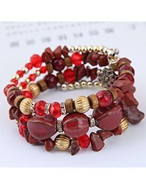 Elegant Red+yellow Beads Decorated Multi-layer Bracelet