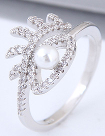 Sweet Silver Color Eye Shape Design Pure Color Ring