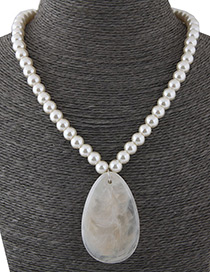 Simple White Water Drop Shape Decorated Necklace