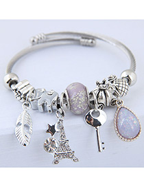 Elegant Light Purple Key&tower Pendant Decorated Bracelet