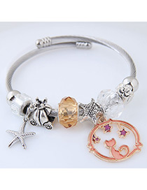 Elegant Champagne Starfish&cat Pendant Decorated Bracelet