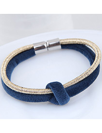 Fashion Blue+gold Color Double Layer Design Bracelet