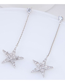 Fashion Siver Color Star Shape Decorated Earrings