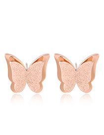 Fashion Rose Gold Butterfly Shape Decorated Earrings
