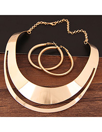 Fashion Gold Color Double Layer Design Pure Color Punk Jewelry Sets