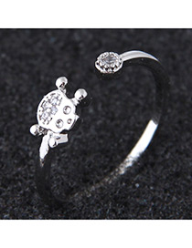 Elegant Silver Color Diamond Decorated Pure Color Opening Ring