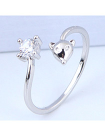 Elegant Silver Color Mouse Shape Decorated Opening Ring