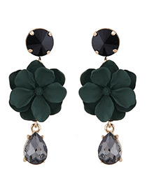 Fashion Olive Green Flower Shape Decorated Earrings