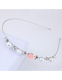 Fashion Silver Color+pink Flower Shape Decorated Hair Hoop