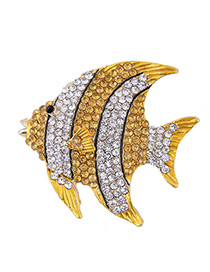 Fashion Yellow+white Full Diamond Design Fish Shape Brooch