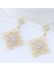 Elegant Gold Color Hollow Out Flowers Decorated Earrings