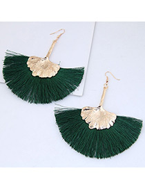 Fashion Gold Color+green Leaf Shape Decorated Tassel Earrings