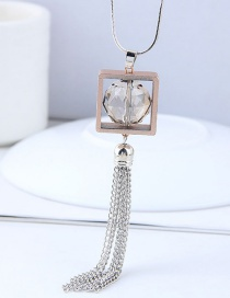 Fashoin Silver Color Square Shape Decorated Necklace