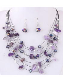 Fashoin Purple Bead Decorated Multi-layer Jewelry Set