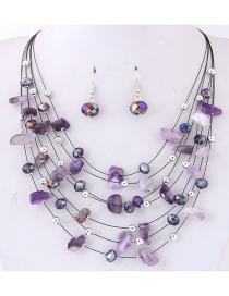 Fashoin Purple Bead Decorated Multi-layer Jewelry Set