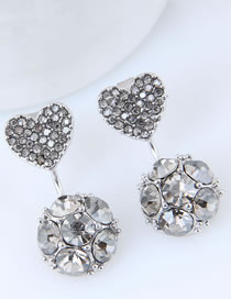 Sweet White Full Diamond Design Round Shape Earrings