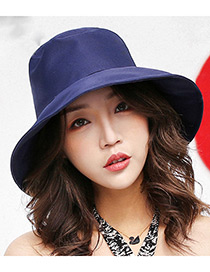 Fashion Navy Pure Color Decorated Hats