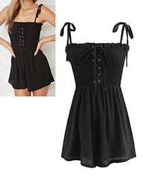 Fashion Black Lacing Decorated Jumpsuit