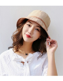 Trendy Beige Stripe Pattern Decorated Sunshade Hat
