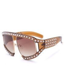 Fashion Coffee Pearl Decorated Sunglasses