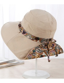 Fashion Beige Flowers Pattern Design Ultraviolet-proof Hat