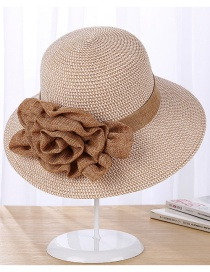 Fashion Light Coffee Flowers Decorated Fishman Sun Hat