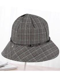 Fashion Black Grid Pattern Decorated Fishman Hat