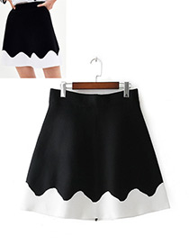 Fashion White+black Color Matching Decorated Skirt