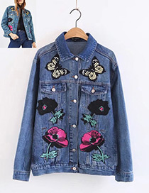 Fashion Blue Butterfly&flower Decorated Coat