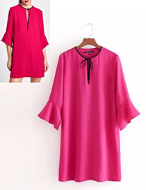 Fashion Dark Purple Pure Color Design Round Neckline Dress