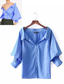Fashion Blue Pure Color Design Long Sleeves Shirt