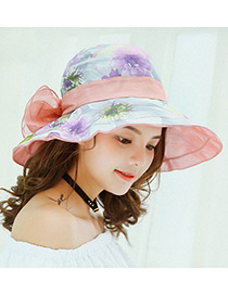 Fashion Red Flowers Pattern Decorated Sun Hat